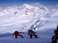 With snowshoes in the Alps