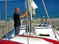 Preparando la barca