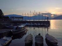 tramonto sul porto