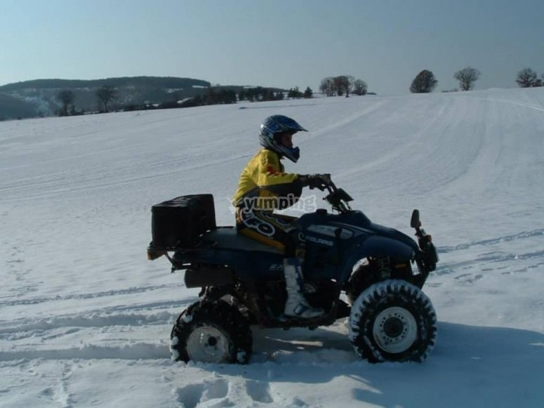 in quad on the snow