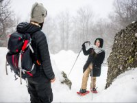 with snowshoes on Amiata
