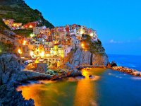 Night view of the Cinque Terre