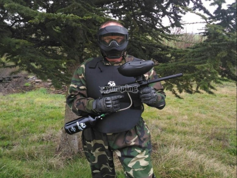posing for paintball