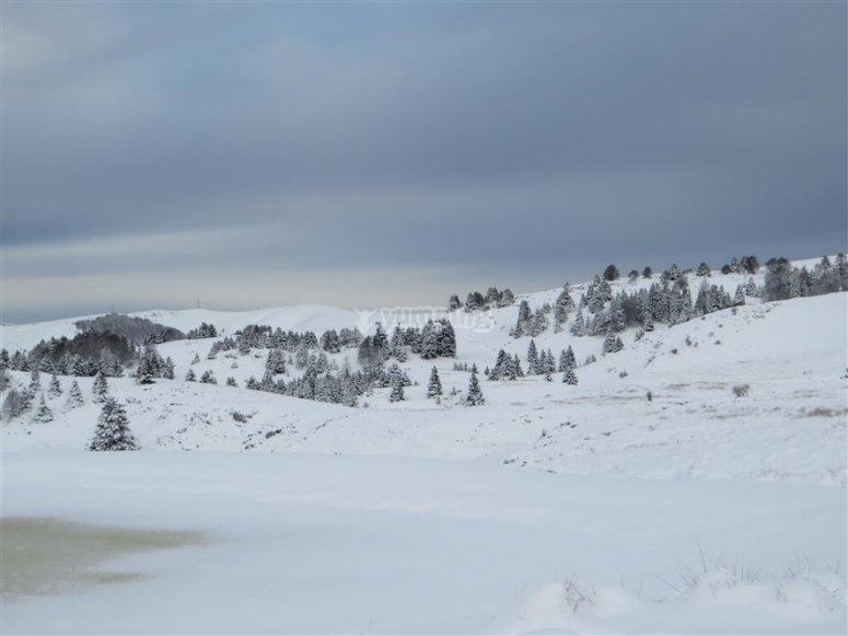 monte lessini and fresh snow