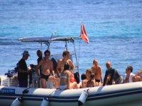 In rubber boat