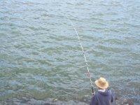 It is fishing!