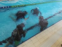 preparation in the swimming pool