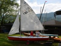 Sailing school for children on the lake