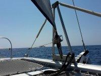 aboard catamarano