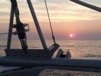 il tramonto aboard nostro catamarano