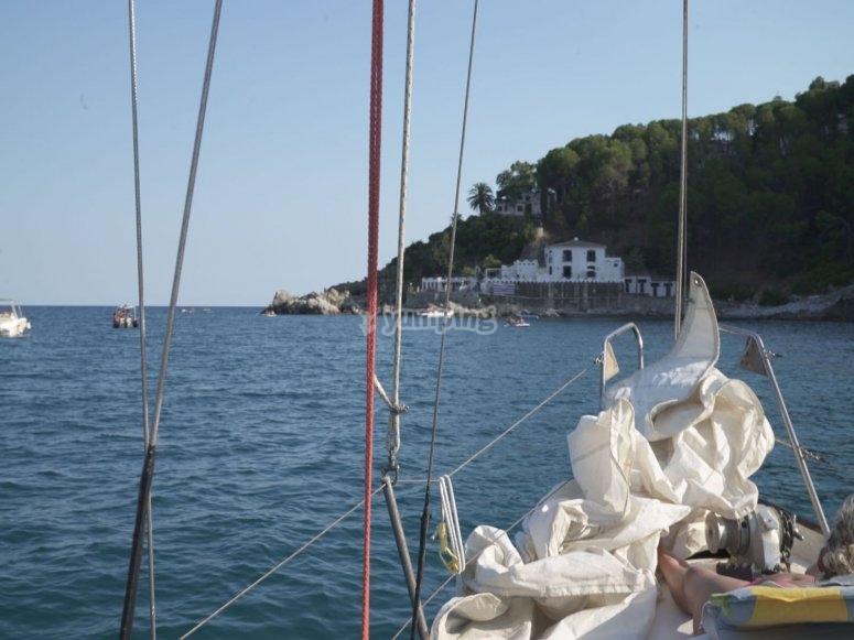 in barca nel mare della Calabria