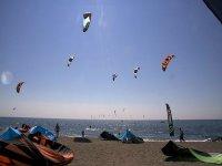Spiaggia piena di kite
