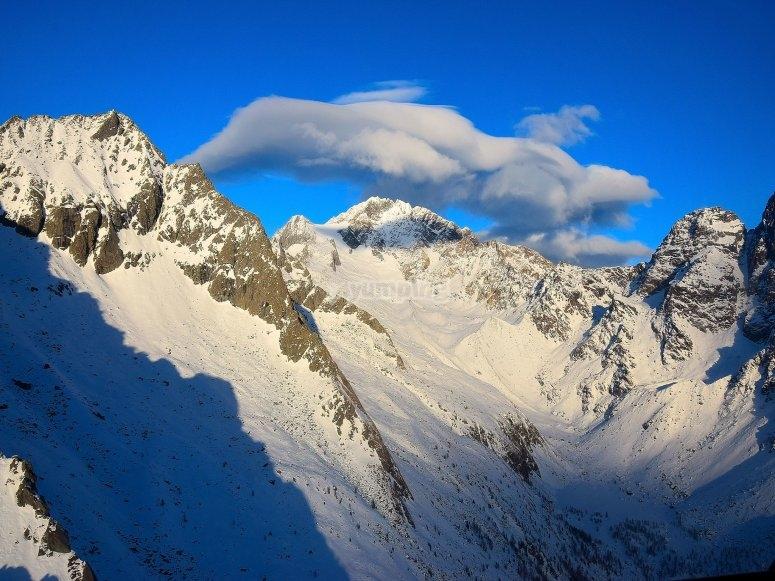 Vista delle Alpi dall'elicottero