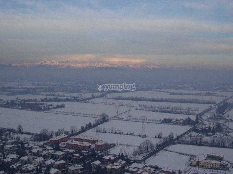 Volo in elicottero inverno