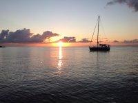 Navigating at sunset