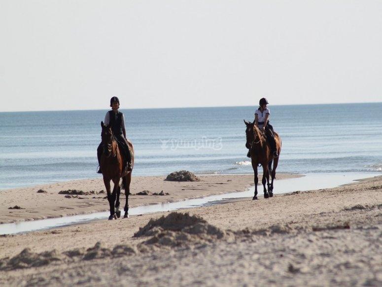 in spiaggia cavalcando