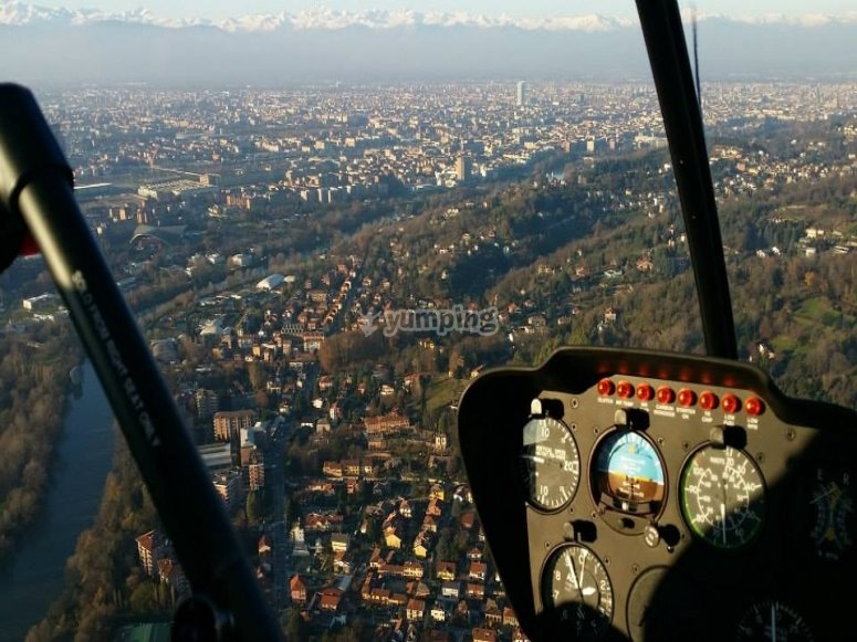 Flying over Turin