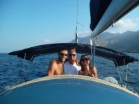 Lezione di vela in barca