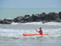 Canoeing in the waves
