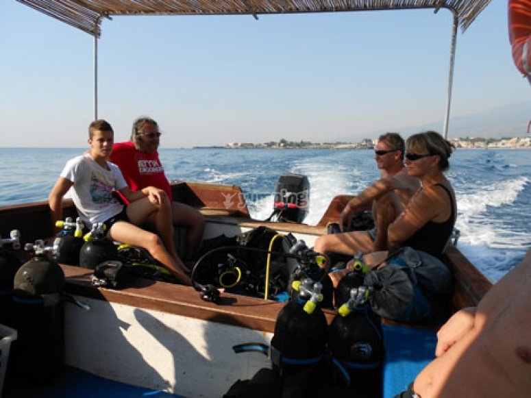 Towards the diving spots