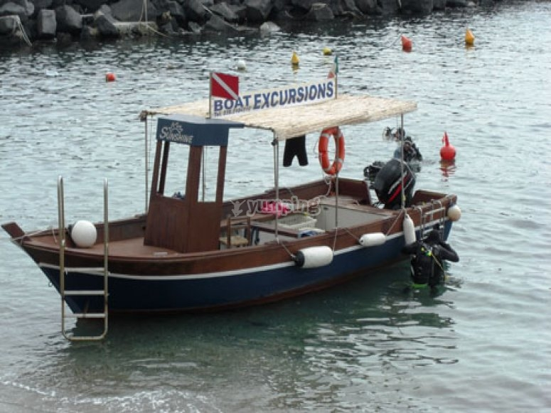 The boat for excursions
