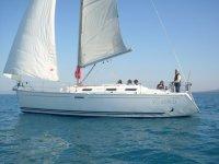 Sailing on a sailing boat