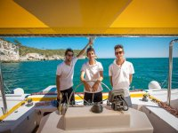The staff of the Sans Souci catamaran