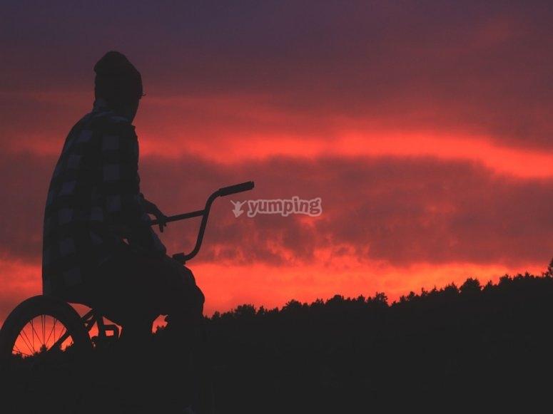 Coucher de soleil à vélo