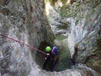 Descending from rocks