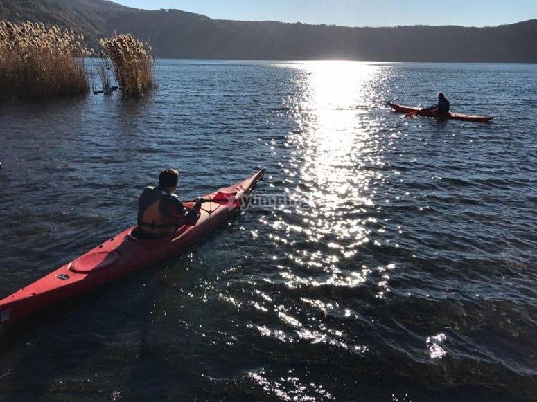 Paddling on the lake