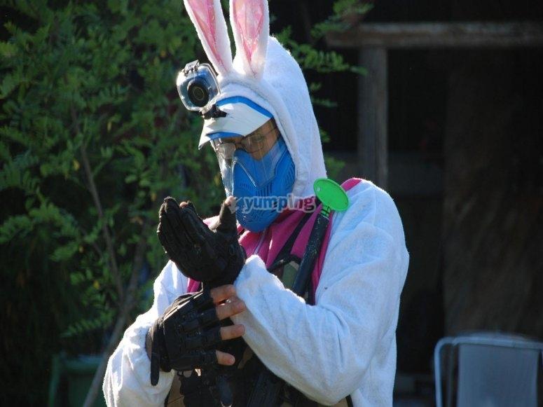 C'è anche un coniglio in campo!