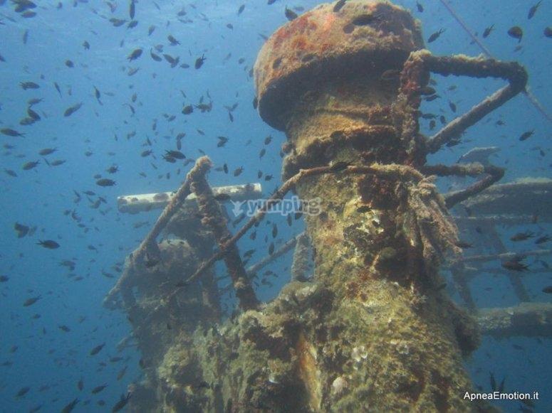 Il relitto sott'acqua