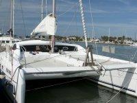 The catamaran at the port