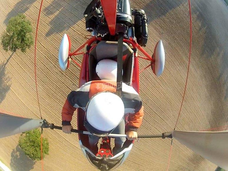 Flying in hang gliding