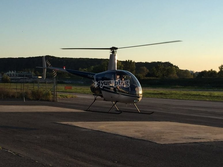 Helicopter on the runway