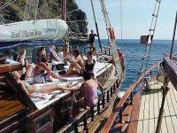 Cruises in sailing ship