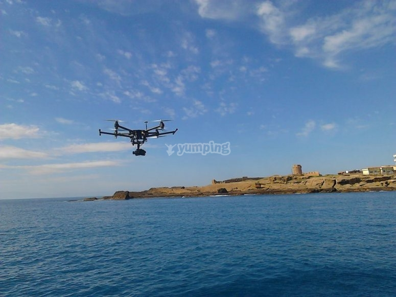 Drone flying over the sea of Le Castella