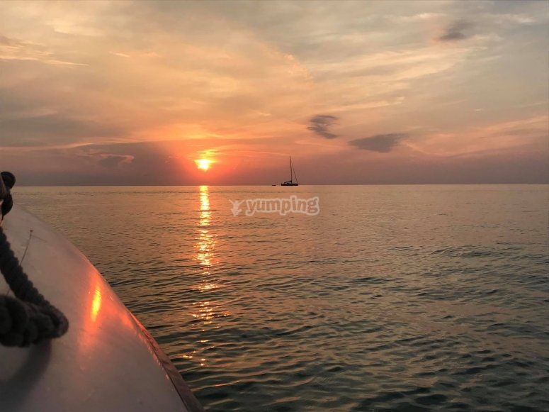 by boat at sunset