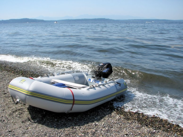 One of the inflatable boats
