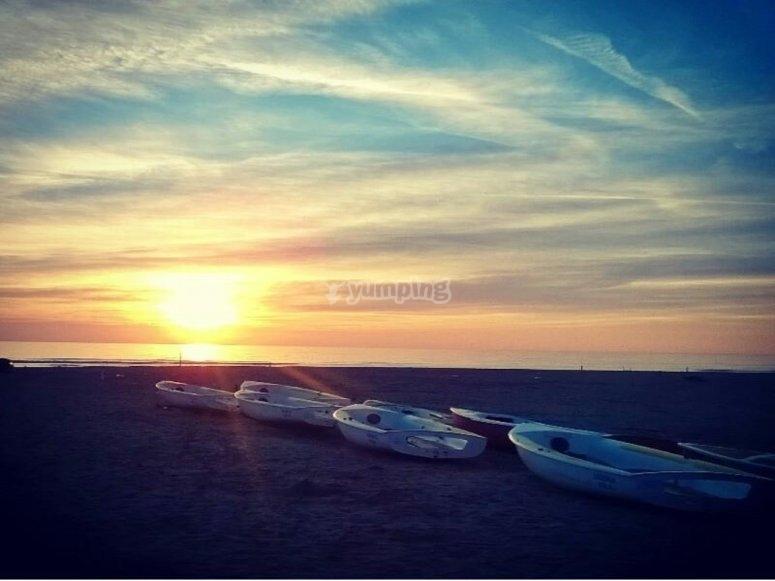 La spiaggia al tramonto