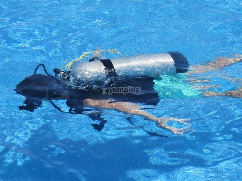 Diver in training