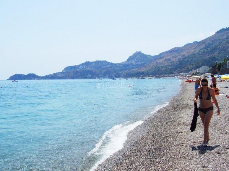 The beach of Letojanni