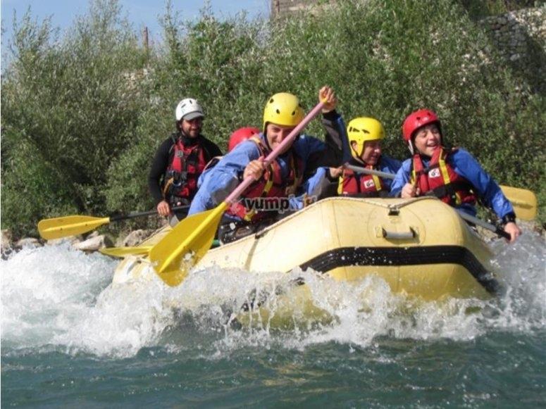 Paddling among the rapids