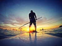Stand up paddle al tramonto