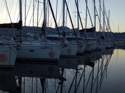 Romantic dinner on a boat in the port of Salerno