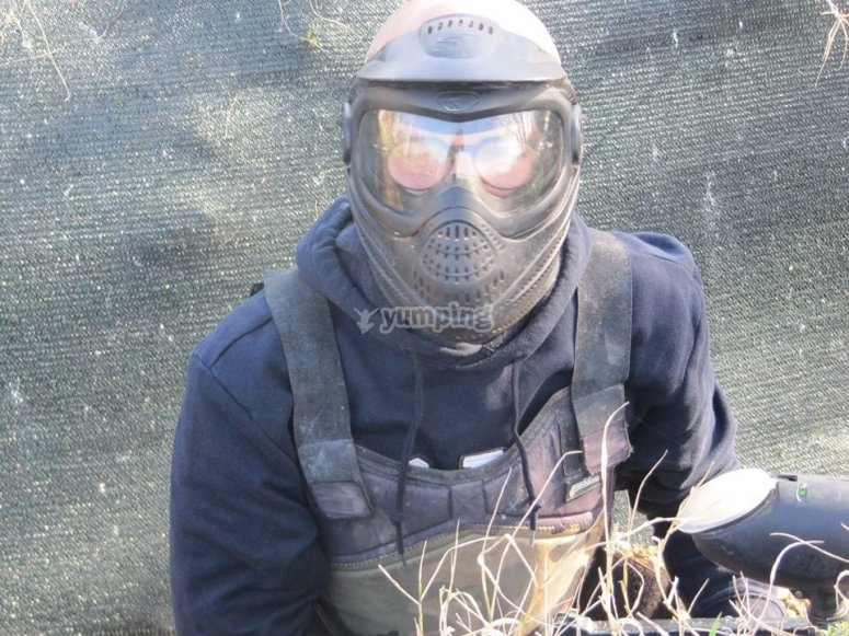 Un giocatore di paintball