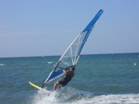 With windsurfing in water