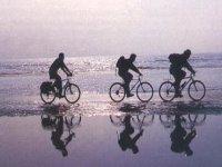 À vélo sur le rivage