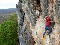 climbing on rocky wall