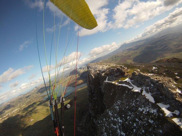 detail of a paraglider